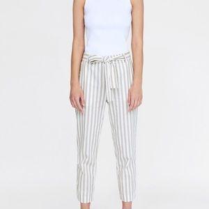 Zara Striped Linen Jogger Pants